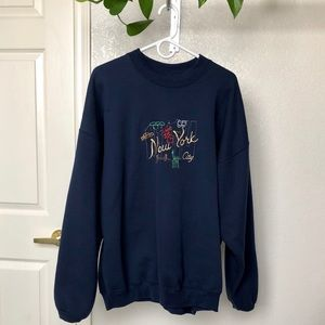 Vintage Embroidered New York Oversized Sweater